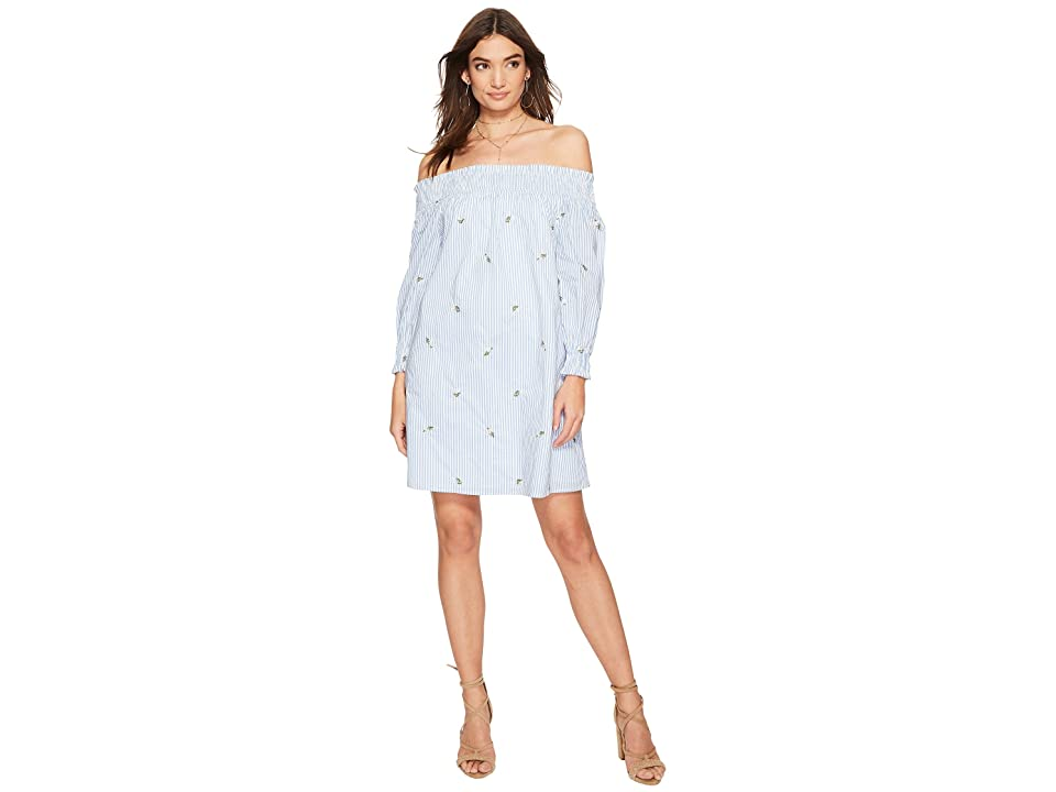 J.O.A. Lace-Up Back Off the Shoulder Dress (Blue/Ivory Stripe) Women