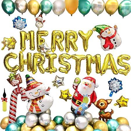Yibaision クリスマス 風船 飾り付け ゴールド MERRY CHRISTMAS アルミバルーン 45セット サンタクロース 雪たるまさん ペンタグラム型 アルミ風船 クリスマス/バー/店舗/学園祭パーティー 装飾 写真道具 豪華 メリークリスマスデコレーションセット (45pcs)