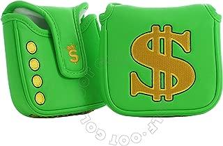 19th Hole Custom Shop Cash is King High-MOI Mallet Putter Headcover, Heel Shaft, Green, Golf Head Cover