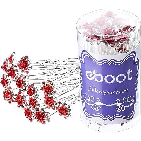 Set of Red Crystal Rhinestone Hair Bobby Pins Flowers Wedding Bridal Headpiece 2