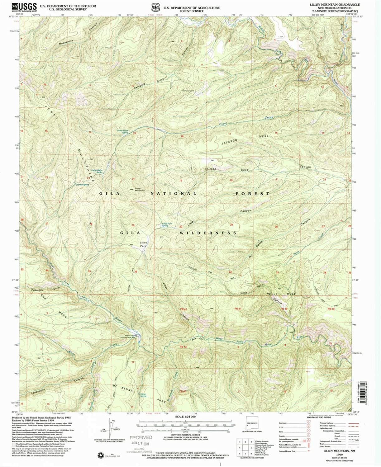 Lilley Mountain NM topo map, 1 24000 Scale, 7.5 X 7.5 Minute, Historical, 1999, Updated 2002, 26.9 x 22 in