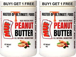 MUF Peanut Butter 1kg (All Natural UNSWEETENED) Creamy, (Buy 1 Get 1 Free) | HIGH Protein | NO Sugar | NO PRESERVATIVES | ...
