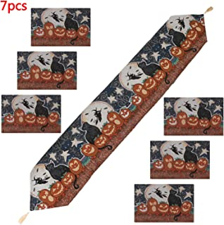 LOCOLO Halloween Table Runner with Tassels and 6 Pcs Place Mats, Washable Tablecloths Sets for Halloween Party, Dinner Parties and Home Decorations