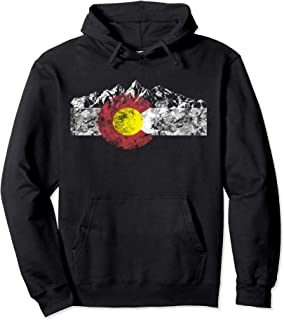 Colorado Flag and Mountains - Rocky Mountains Pullover Hoodie