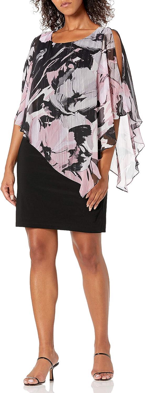 S.L. Fashions Women's Sleeveless Max 48% OFF Over Asymmetric Ranking TOP13 Chiffon Printed