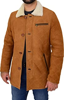 HOL Mens Real Sheepskin Quilted Cross Stitch Shearling Jacket Edwin Dark Brown