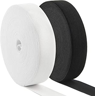Coopay 22 Yards 1 Inch High Elastic Spool Knit Elastic Bands for Sewing, 2 Rolls, 11 Yards/Roll (Black and White, 1 Inch)