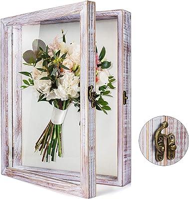 Bilderrahmen Hochzeitsstrau/ß 33 x 40,6 cm Medaillen Fotos Erinnerungsst/ücke Erinnerungsst/ücke schwarz mit Glasfenster f/ür Andenken TJ.MOREE Schattenbox mit Blumen rustikal