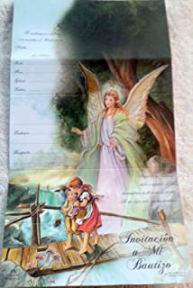 DPW Baptism Bautizo Christening Party Invitations Spanish Invitaciones Guardian Angel Baby Fiesta 10PC