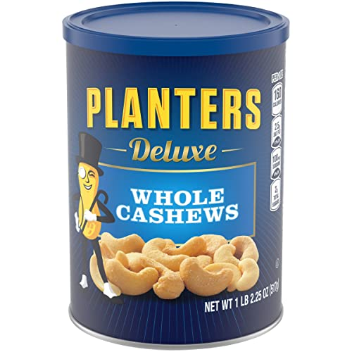 PLANTERS Deluxe Whole Cashews,Resealable Jar - Wholesome Snack Roasted in Peanut Oil with Sea Salt - Nutrient-Dense Snack & Good Source of Magnesium, 517g