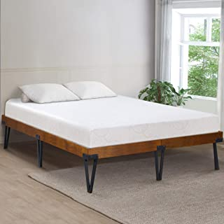 Ecos Living 14 Inch Rustic Metal and Wood Platform Bed Frame/Natural Finish/No Box Spring (Full)