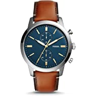 Men Townsman Stainless Steel and Leather Casual Quartz Watch