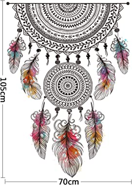 Amazon Brand - Solimo Wall Sticker for Living Room (Dream Catcher Decor ), Ideal Size on Wall: 70 x 105 cm