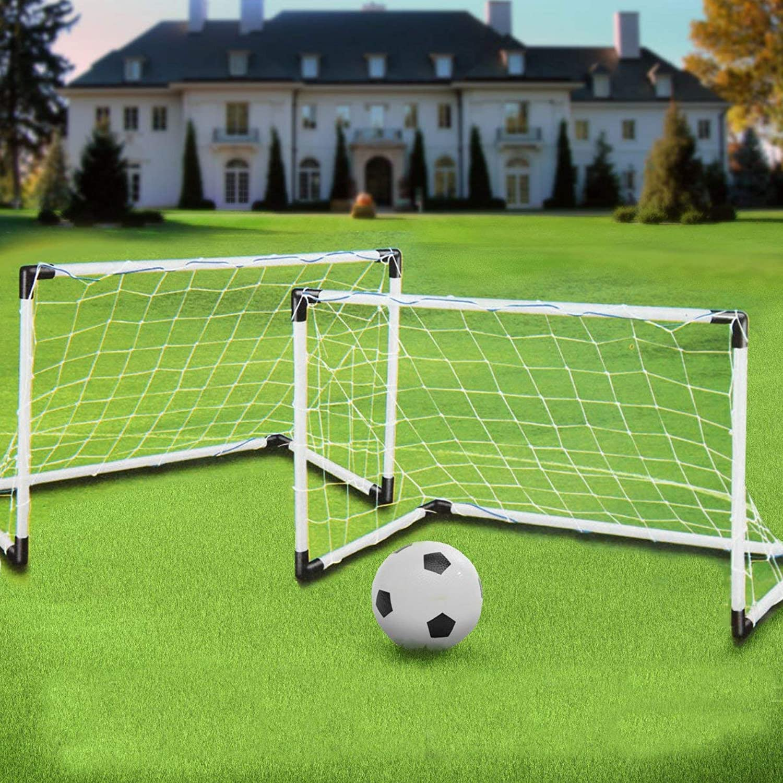 2 Mini Set Football Soccer Goal Post Net + Ball + Pump Kids Outdoor Sport Training