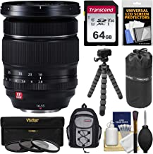 Fujifilm 16-55mm f/2.8 XF R LM WR Zoom Lens + 64GB Card + Backpack + Pouch + Tripod + 3 Filters Kit for X-A2, X-E2, X-E2s, X-M1, X-T1, X-T10, X-Pro2