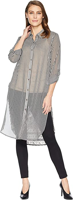 Roll Up Sleeve Blouse with Combo Back
