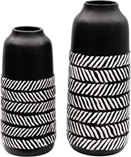 TERESA'S COLLECTIONS Ceramic Flower Vase, Set of 2 Black and White Modern Decorative Vases Set for Centerpieces,Kitchen,Office,Wedding or Living Room