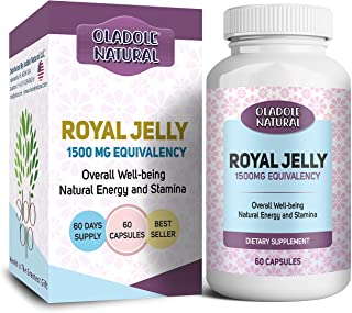 Oladole Natural Royal Jelly 1500 Mg With 10-Hda (Hydroxy-D-Decenoic Acid), 60 Capsules