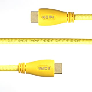 WGGE LED HDMI Cable 2.0 High speed, Nylon braiding, HDMI(19 PIN by copper wire), Gold connectors, Support 4k 1080p 3D TV, Ethernet, Home theater, HDTV, XBOX and set-top boxes (5 feet, YELLOW)