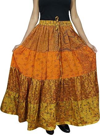 Mogul Interior Womens Gypsy Skirt Burnt Orange Sari Tiered Maxi Skirts OneSize S/M/L