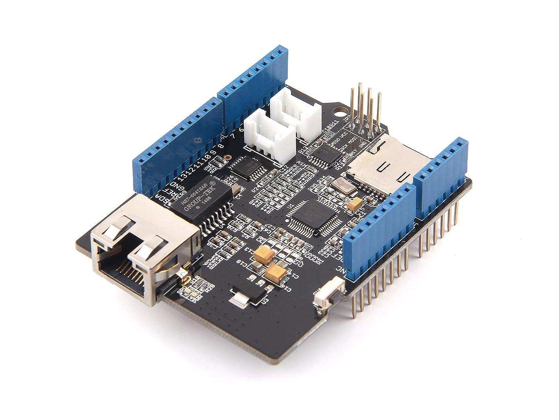 鈍いケーブル虚偽イーサネットシールド ネットワーク拡張モジュール arduino適用 I2CとUARTGroveコネクタ microSDカードソケット W5500 Ethernet Shield
