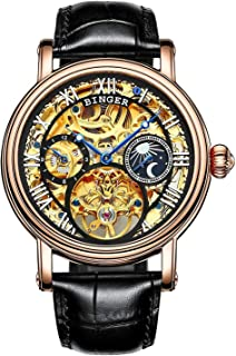 Men's Golden Watch Automatic Mechanical Stainless Steel Steampunk Skeleton Leather Band Blue Pointer