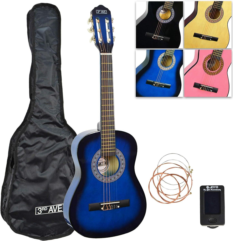 3Rd Avenue Paquete de Guitarra Clásica con Funda, Afinador y Cuerdas de Repuesto, Azul, Tamaño 1/2
