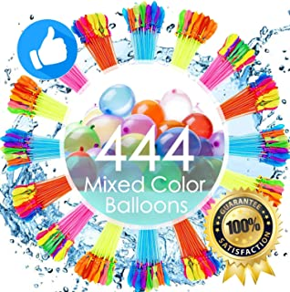 FEECHAGIER Water Balloons for Kids Girls Boys Balloons Set Party Games Quick Fill 444 Balloons 12 Bunches for Swimming Pool Outdoor Summer Fun YUX4 (Color May Vary)