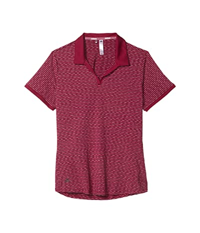 adidas Golf Ultimate365 Space Dye Striped Polo Shirt (Power Berry) Women