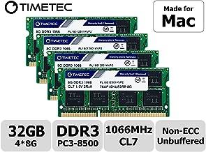 Timetec Hynix IC 32GB KIT(4x8GB) Compatible for Apple Late 2009 iMac 27inch DDR3 PC3-8500 1067MHz/1066MHz CL7 204 Pin 1.5V Dual Rank 2R8 Memory Module RAM Upgrade for iMac 11,1 (32GB KIT(4x8GB))