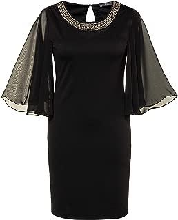 Ulla Popken Women's Plus Size Beaded Neckline Little Black Dress 719470