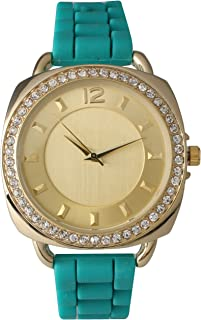 Silicone Watch with Square Face with Rhinestones