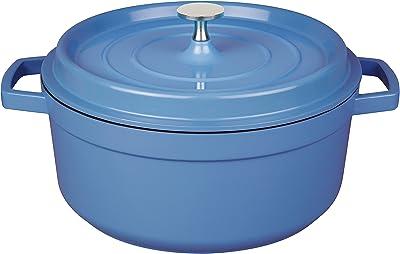 "MasterPan 4 Quart Non-Stick Cast Aluminum Dutch Oven Casserole Stockpot 11"", Blue"