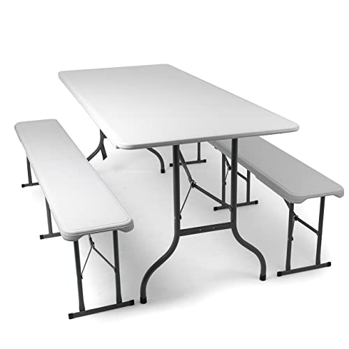 Park Alley - L'ensemble de Mobilier de Jardin + 2 Bancs et Table brasserie en blanc - Pliables - Table et bancs en plastique