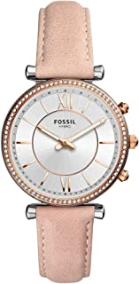 Fossil Carlie Hybrid Women's Silver Dial Leather Analog Smartwatch - FTW5039