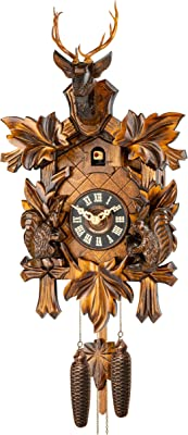 River City Clocks One Day Hunters Cuckoo Clock with Hand-Carved Oak Leaves and Buck Model # 19-16 Animals Crossed Rifles 16 Inches Tall