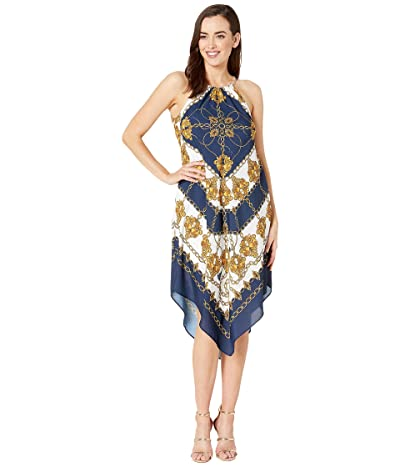 Adrianna Papell Scarf Printed Halter Trapeze Dress (Navy/Ivory Multi) Women