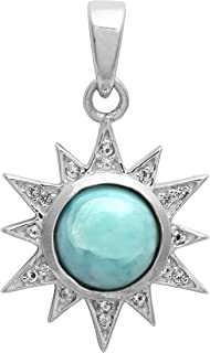 Shine Jewel 925 Sterling Silver Larimar with Cubic Zirconia Gemstone Sun Rays Pendant