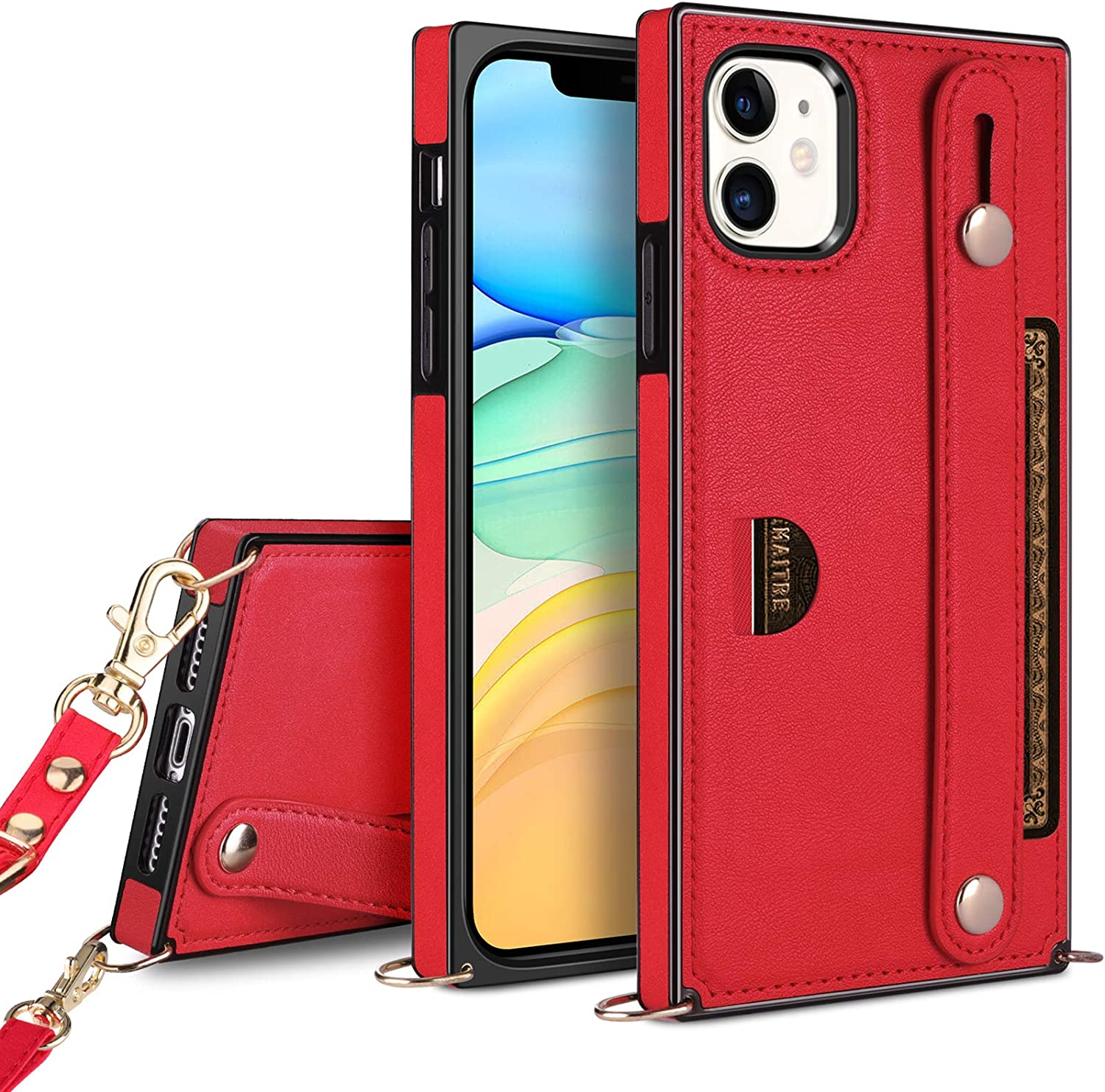 HianDier Compatible with iPhone 11 6.1-Inch Wallet Case Slim Protective Case with Hand Strap Holder Kickstand Lanyard Credit Card Slot Soft PU Leather Square Cover, Red