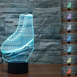SUPERNIUDB NHL ICE SKATING Roller Skates 3D LED Night Light 7 Color Change LED Table Lamp Xmas Toy Gift