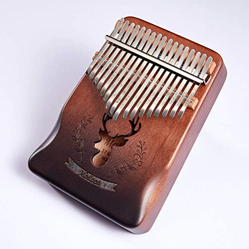 Molioon 17 Keys Kalimba Mahogany Body Thumb Piano solid wood mbira keyboard instrument Handguard Brown Deer