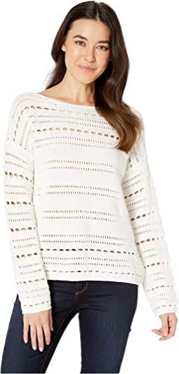 Long Sleeve Open Stitch Cotton Sweater
