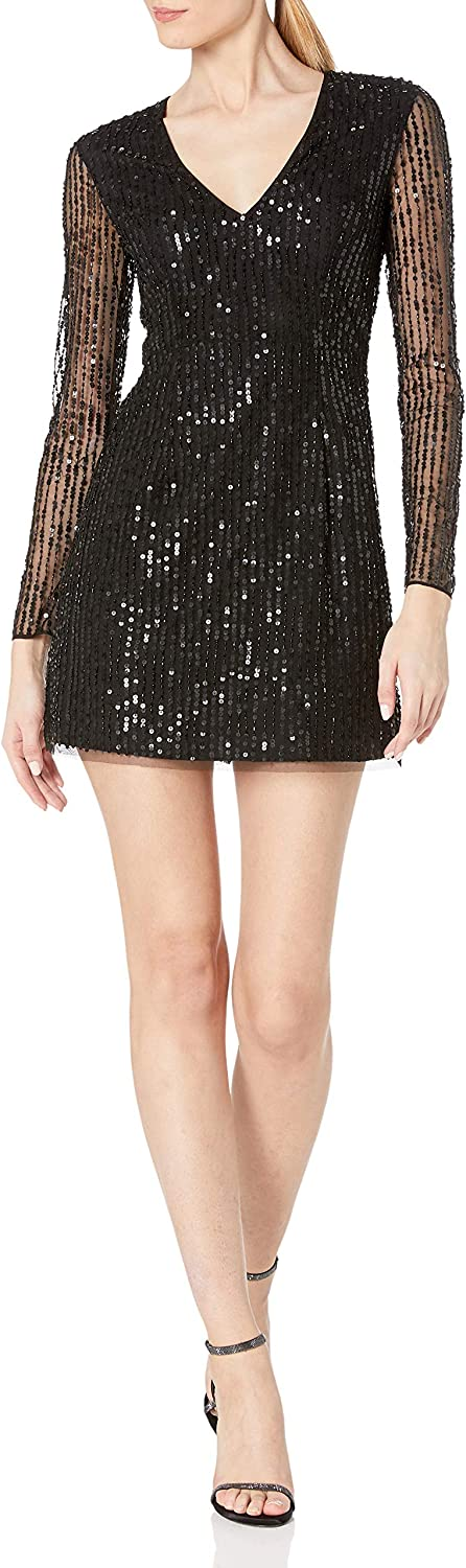 French Connection Womens Sequined Fringe Sheath Dress
