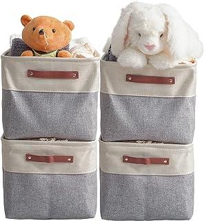 VK Living Large Foldable Storage Bin Collapsible Sturdy Fabric Storage Basket Cube PU Handles for Organizing Shelf Nursery...