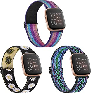 WNIPH Adjustable Elastic Watch Bands Compatible with Fitbit Versa/Versa Special Edition/Versa 2/Versa Lite Stretchy Nylon Strap Sports Loop Replacement Wristband for Women Men