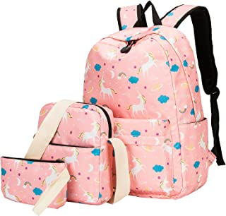 Teens Backpack Set Girls School Bags Kids Laptop Bookbags (Pink-T02)
