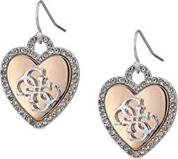 GUESS - Pave Framed Heart Drop Earrings