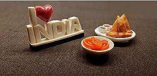the monument shop I Love India, samosa and jalabi Fridge Magnet Miniature Food 3D Fridge Magnet Best Souvenir Gift 100% Ma...