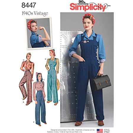 Simplicity 8447Pattern 8447 Women's Vintage Trousers, Overalls and Blouses, Paper, White, H5 (6-8-10-12-14)