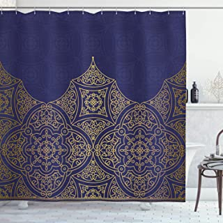 Lunarable Navy Blue and Yellow Shower Curtain, Middle Eastern Style Ornament Ottoman Culture Inspired Pattern, Cloth Fabric Bathroom Decor Set with Hooks, 75